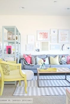 bright living room with pops of color