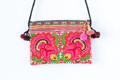 Orange Flowers Hill Tribe Crossbody Bag Small Size by Changnoibags
