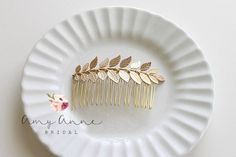 Gold Leaf Hair Comb Boho Gold Comb Gold Leaf Bridal Comb