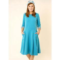 Tamar Landau Light Blue Midi Dress ($110) ❤ liked on Polyvore featuring dresses, blue, light blue formal dresses, blue formal dresses, blue dress, blue long dress and pocket dresses
