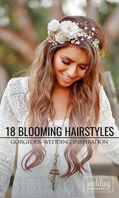 18 Gorgeous Blooming Wedding Hair Bouquets ❤ See our gallery of blooming wedding hair and be inspired! See more: http://www.weddingforward.com/blooming-wedding-hair-bouquets/ #weddings #hairstyles Photo: Brian Labrada http://brianlabradaphoto.com/