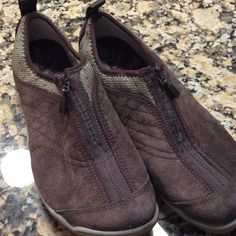 FINAL PRICE Merrell suede shoes WORN ONCE Merrell brown suede Lorelei shoes with zip front.  Medium width.  022907 Merrell Shoes Sneakers