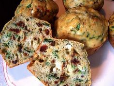 Savory muffins - goat cheese, sundried tomato and spinach muffins