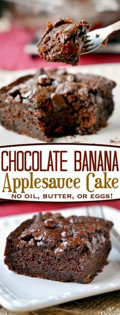 This one-bowl Chocolate Banana Applesauce Cake is made without oil, eggs, or butter and is perfect for snacking! Beautifully moist and perfectly decadent, you won't even miss the frosting! // Mom On Timeout