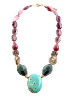 I love this necklace!  It has purple agate, raspberry jasper, smoky quartz, turquoise and indian agate.  By Barse Jewelry