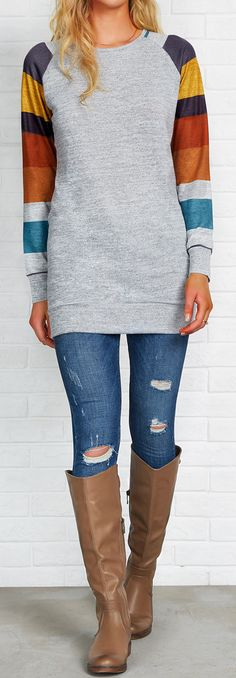 You need a good relax and back to life. First of all, you should have this striped splicing top! $21.99 Only with free shipping to get it in hand! Pair this long top with your cute jeans to have this casual look completed at Cupshe.com !