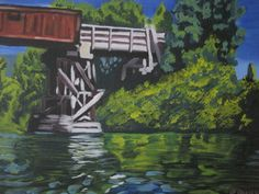Tubing Down the River Oil Painting