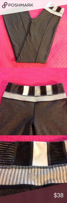 "Lululemon Yoga Pants EUC Lululemon size 2 Yoga Pants. No stains no holes. Has a super cut patch work waistband. Measures waist is 24"" flat length is 30"" lululemon athletica Pants Leggings"