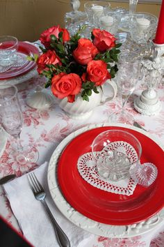 Pretty red and white toile and heart tablescape for Valentine's Day