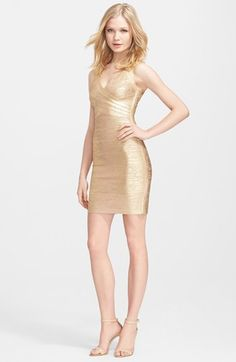 Herve Leger Metallic Bandage Dress available at #Nordstrom