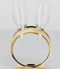 MOET CHANDON CHAMPAGNE LOVERS GLASS SET WEDDING BAND LOVERS WITH 2 GLASSES