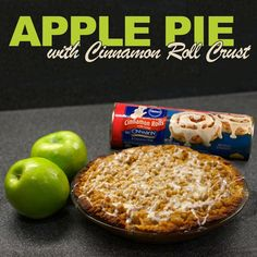 apple pie with pillsbury cinnamon roll crust * apple pie cinnamon roll crust pillsbury ; apple pie with pillsbury cinnamon roll crust Apple Pie Recipes, Apple Desserts, Sweet Recipes, Delicious Desserts, Dessert Recipes, Yummy Food, Apple Pies, Trifle Desserts, Fall Desserts