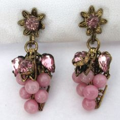 Vintage Pink Rhinestone Pink Glass Bead Grape Cluster Earrings Czech
