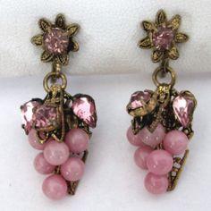 Vintage Pink Rhinestone Pink Glass Bead Grape Cluster Earrings Czech