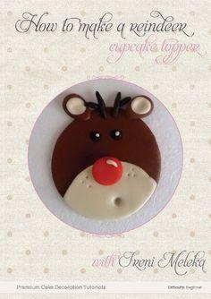 PDF reindeer cupcake topper tutorial by Yumyumcakesandbakes