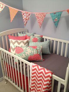 coral and Grey Chevron Nursery | Coral and grey crib bedding by DandelionBabyblanket on Etsy, $290.00