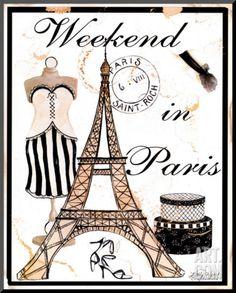 Weekend in Paris Mounted Print by Kathy Hatch at Art.com