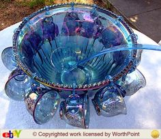 INDIANA CARNIVAL GLASS HARVEST GRAPE PUNCH BOWL SET