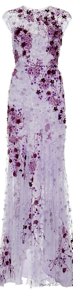Monique Lhuillier ● SS 2015, Lavender Ombre Lace Gown
