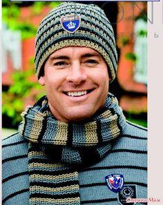 Добрый день дорогие рукодельницы.  Скоро осень и решила я поделится подборкой шапок и шарфиков для мужчин и мальчиков.  Думаю именно такая мужская подборка будет кому-то интересна.