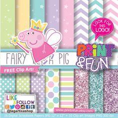 Digital Paper #Fairy #PeppaPIG #Princess #Fairies clip por Printnfun, €3.00 #digitalpaper #candybar #sweettable #mesadedulces #partyideas #partyplanner #events #festa #fiesta #cumpleanos #birthday #invitations #invitaciones #partyprintables