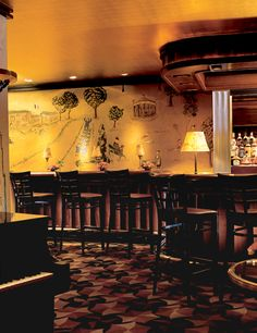 Bemelmans Bar in NYC's Carlyle hotel | features whimsical murals of Central Park (with cameo appearances by Madeline)