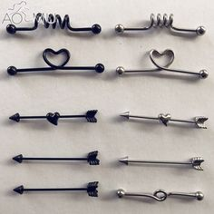 Black Stainless Steel Long Industrial Barbell Arrow Ear Piercing Stud Earrings Ear Cartilage Straight Bar-in Body Jewelry from Jewelry & Accessories on Ear Piercing Helix, Cute Ear Piercings, Tattoo Und Piercing, Cartilage Piercings, Body Jewelry Piercing, Body Piercings, Piercing Industrial Oreja, Industrial Earrings, Bar Stud Earrings
