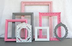 Pinks, Grey White Ornate Frames Set of 7 - Upcycled Painted Ornate Frames Girls or Nursery bedroom decor. $59.00, via Etsy.