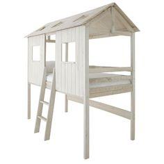 Lit cabane pour enfant Moogly chez Fly. Lit cabane pour enfant en pin massif teinté blanc pour enfant chez Fly