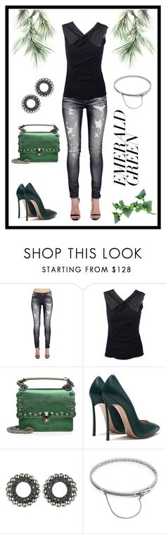 """""""Untitled #394"""" by scaniapower ❤ liked on Polyvore featuring Eco Style, Cult of Individuality, Vanessa Bruno, Fendi, Links of London, Eddie Borgo and emeraldgreen"""