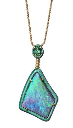 BRONZE COLLECTION ~ Bronze Pendant with a 50.20ct Boulder opal and green tourmaline, set in yellow gold and bronze #opalsaustralia