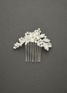 Spray Comb Featuring Pearl Clusters and Crystal - Silver