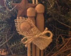 Primitive Christmas Rustic Wood Clothespin by PrimitivePics