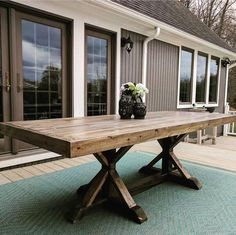 """Check out this version of our $110 Dining Table that @mindbodyfarmhouse built using our plans! Free…"""""""