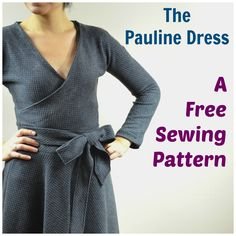 FREE SEWING PATTERN: Pauline Dress: long sleeve wrap dress : The dress features a midi circle skirt, long sleeves and a cross over bodice. It comes in sizes from 4 to 22.