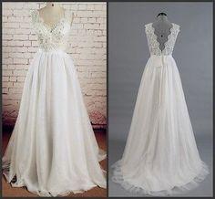 Simple-Beach-Wedding-Dresses-V-neck-Lace-Applique-Low-Back-A-line-Bridal-Gowns