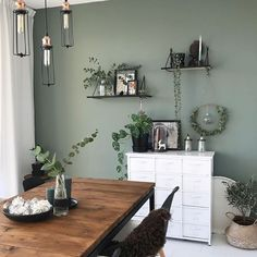 is still very happy with our green wall. Now thinking of - paintes Deco Design, Pin Collection, New Homes, Sweet Home, Dining Table, Living Room, Interior Design, Green, Furniture