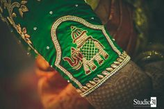 Shopzters is a South Indian wedding site Hand Embroidery Videos, Hand Embroidery Designs, Saree Blouse Patterns, Saree Blouse Designs, Blouse Styles, Maggam Work Designs, Blouse Models, Bridal Blouse Designs, Elephant Design