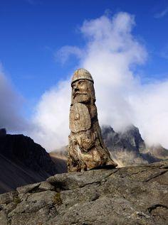 Stokksnes wood viking sculpture in Iceland, at Mount Vestrahorn, Stokksnes. Located near Höfn, Iceland.