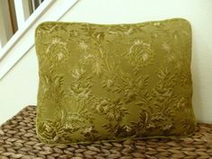 Vintage Brocade Avocado Green Accent Pillow Regency by GoneTheSun,
