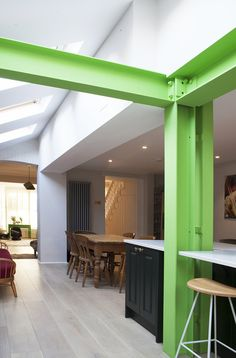 London Victorian House Extension with exposed steel in bright green and Crittal Doors House Extension Plans, House Extension Design, Glass Extension, Crittal Doors, Kitchen Diner Extension, Roof Beam, Warehouse Design, Carport Designs, Futuristic Home