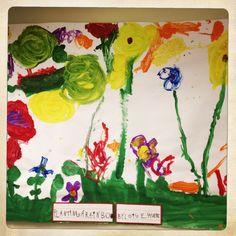 A KinderCare Kindergarten class drew a garden in honor of Spring. #kindercare #kindergarten #prek #preschool #springtime #spring #class #activity #paint #garden #flower