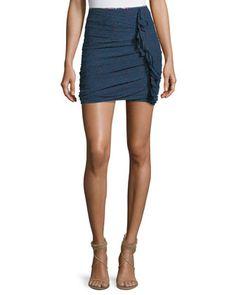 Jipson+High-Waist+Ruched+Printed+Mini+Skirt+by+Etoile+Isabel+Marant+at+Bergdorf+Goodman.