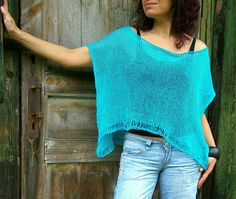 Turquoise Poncho Summer Linen Sweater Handknitted Poncho