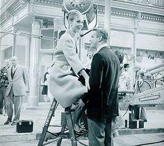 "cinemarhplus:  George and Audrey on the set of""Breakfast on..."