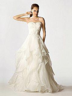 Appliqued Organza Wedding Dress with Asymmetrical Layers - USD $229.00