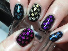 Colorful Star stamping on black nails