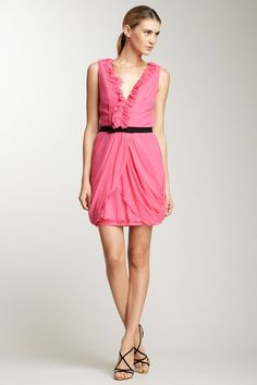 Vera Wang Crinkle Chiffon Ruffle Trim V Dress by A Dress for All Occasions on @HauteLook