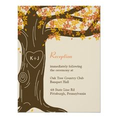 Shop Oak Tree Fall Wedding Reception Card created by berryberrysweet. Personalize it with photos & text or purchase as is! Whimsical Wedding Invitations, Couples Shower Invitations, Custom Invitations, Invitation Cards, Invites Wedding, Invitation Ideas, Trendy Wedding, Fall Wedding, Wedding Ideas