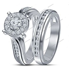 2.84 CTW Simulated Diamond With 14K White Gold Finish Halo Style Bridal Ring Set…